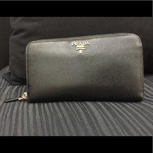 Prada Saffiano Leather Wallet.